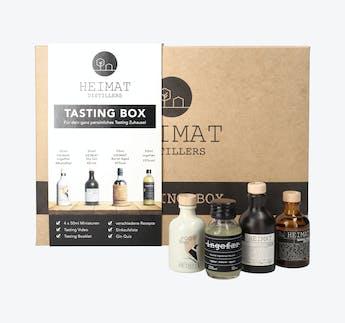 Tasting Box aus Dry Gin, Barrel Aged Gin, alkoholfreiem Gin und Ingwerspirituose