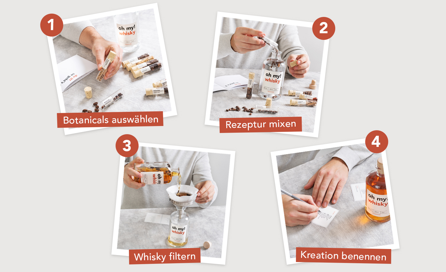 Step by step Whisky Infusion Set