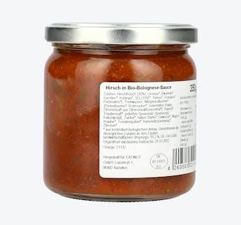 Hirsch in BIO Bolognese-Sauce
