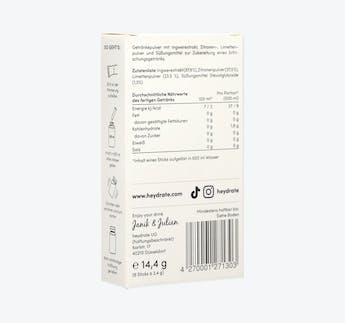 Getränkepulver mit Zitrone, Ingwer und Limette