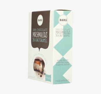 Marshmallow Riegel mit dunkler Schokolade und gesalzenem Karamell