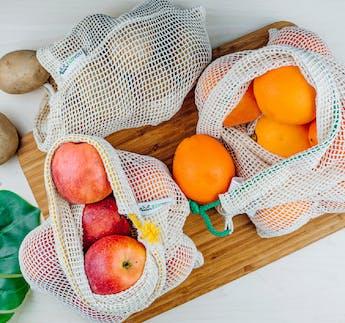 Obst- und Gemüsenetze 3er Set inkl. Saison Kalender