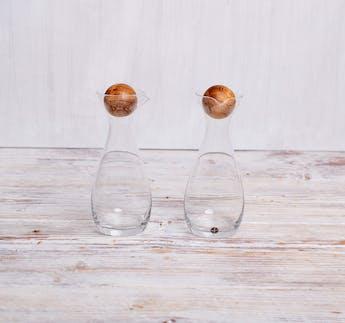 Nature Öl-/Essigflaschen Set, 2-teilig mit kugelförmigen Holzverschluss