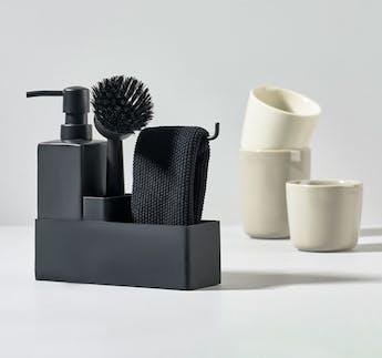 Geschirrspül Set schwarz, 4-teilig