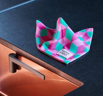 Spültuch 3er-Set, pink mit Quadraten