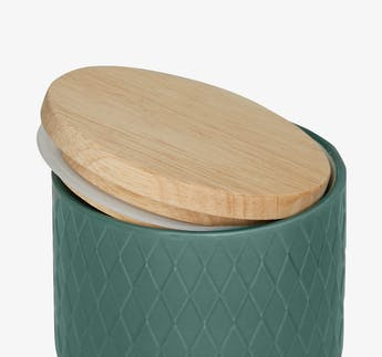 "Vorratsdosen ""Diamond"" grün aus Keramik mit Holzdeckel, 2-teilig"