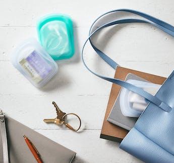 Aufbewahrungsbeutel-Set mini, transparent & türkis